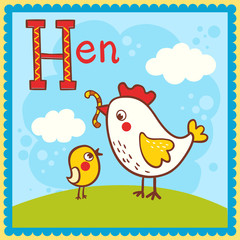 Illustrated alphabet letter H and hen.