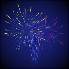 vector colored chinese new year three fireworks on dark