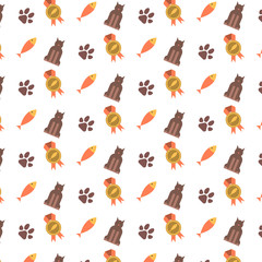 Seamless pattern with cat paws and fish.
