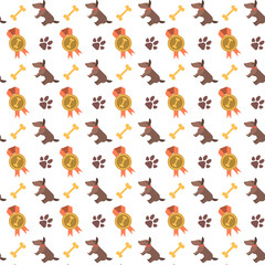 Seamless pattern with dogs, paws and bones