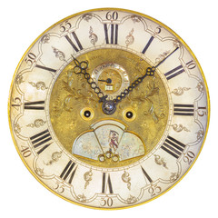 Seventeenth century clock face isolated on white