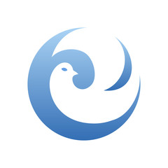Abstract Dove Round Logo Template