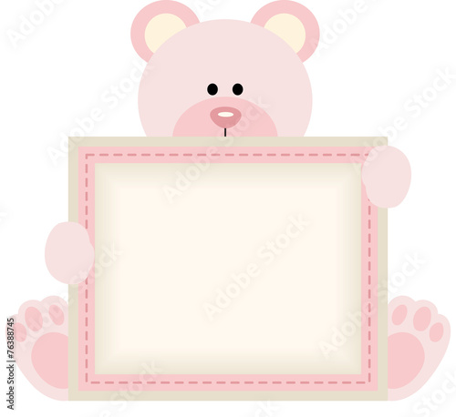 Cute Teddy Bear Holding Blank Sign For Baby Girl Announcement Stock