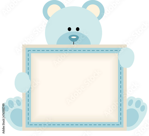 Cute Teddy Bear Holding Blank Sign For Baby Boy Announcement Stock
