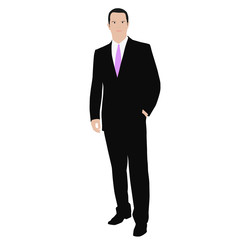 Business man. Isolated vector color drawing of a man in a suit