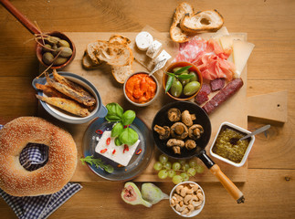 High Angle View of Various Tapas on Table