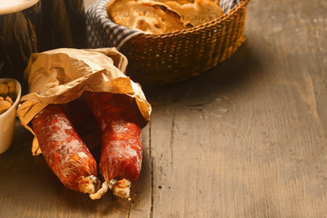 Spicy dried Italian salami sausages