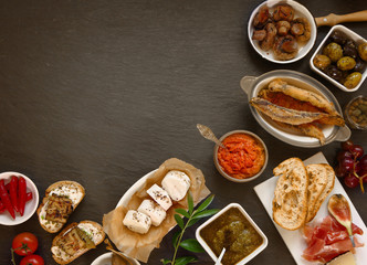 Appetizing Tapas on Table with Copy Space