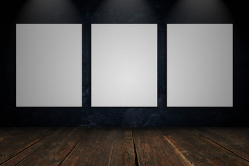 Three blank canvas on a concrete wall