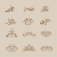 Beautiful  white vintage vector decorative elements and