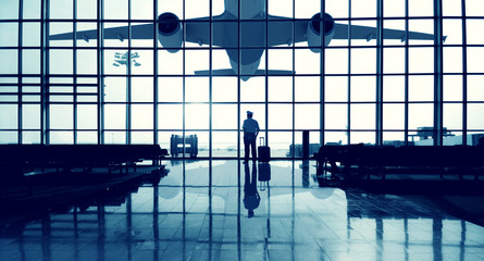 Pilot Airport Terminal Waiting Standing Alone Travel Concept