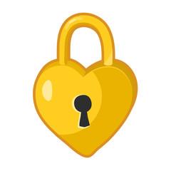 Padlock heart shaped lock isolated illustration