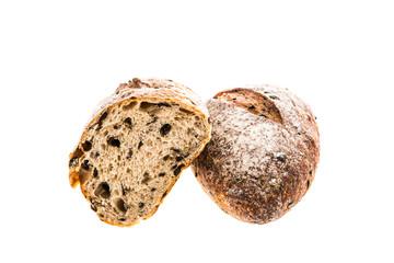closeup bread on white background