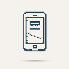 Simple stylish pixel icon phone. Vector design