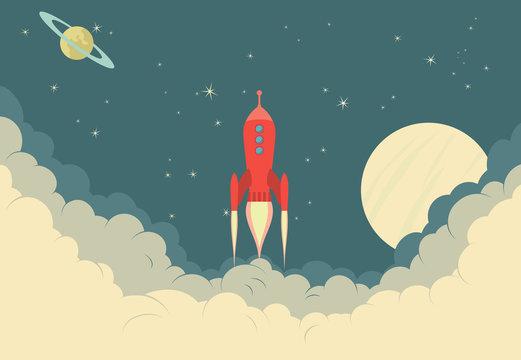 Retro Rocket Spaceship