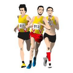 3 athlètes qui courent