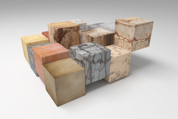 textured stone cubes