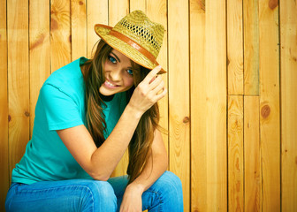 American country style portrait of young woman.