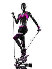Fototapete - woman fitness stepper resistance bands exercises silhouette
