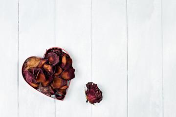 Dried Rose Petals Heart