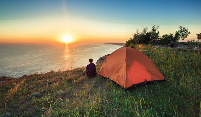 Tourists on holiday,tent
