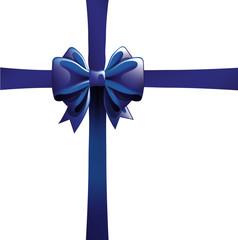 Lazo azul realístico. Envoltorio de regalo. Vector