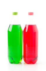 Bottles with soft drinks, isolated on a white background