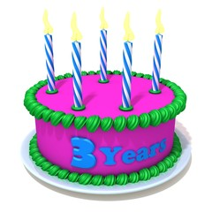 Birthday cake with number three