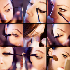 Makeup collage. Professional make-up example. Set of pictures