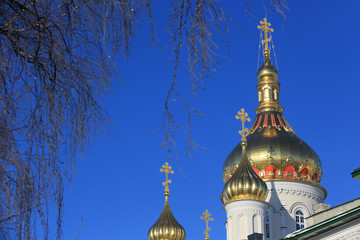 Pochaev's Lavra Cupola at nice winter day, Ukraine