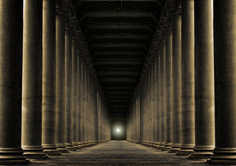 light at end of row of pillars