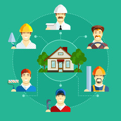 Building occupation with house. Set of flat icons. Set of flat