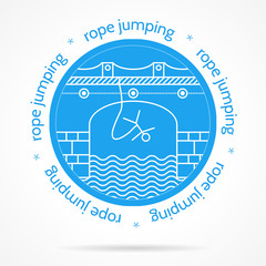 Illustration with round blue icon and text for rope jumping.