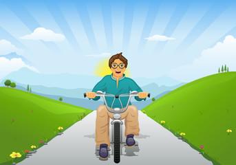 Stock Vector cartoon illustration of a boy child rides a bike