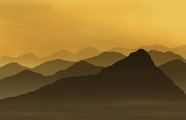 Aluminium Prints Olive mountains at sunset