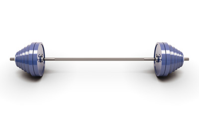 Blue barbell isolated on white