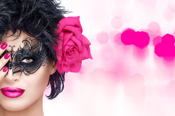 Beauty Fashion Woman with Elegant Mask. Pink Lips and Manicure