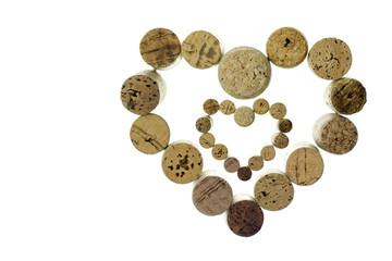 Wine corks form a heart shape image isolated