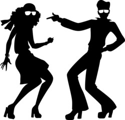 Wall Mural - Disco couple silhouette