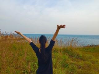 happy girl at the sea