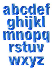 3D Set expensive blue all small alphabet letters on white