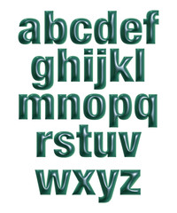 3D Set expensive dark green all small alphabet letters on white