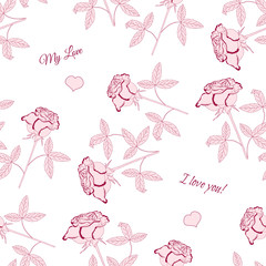 Seamless pattern with pink rose-03