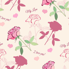 Seamless pattern with pink rose1-04_нач