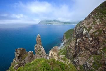 High, steep cliffs of the island Askold.