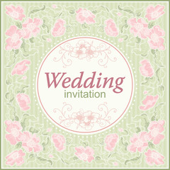 Vector floral border for  Wedding invitation at retro style