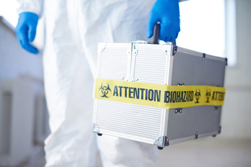 Suitcase with biohazard