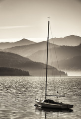 sailboats and mountains