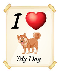 A flashcard showing the love of a dog