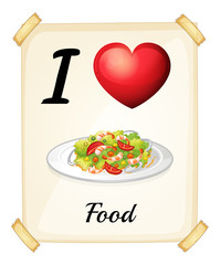 A flashcard showing the love of foods